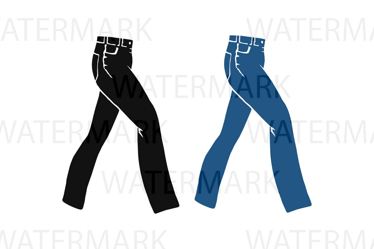 Jeans Blue and Black - SVG/JPG/PNG - Hand Drawing example image 1
