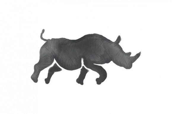 Rhinoceros Silhouette Running Watercolor example image 1