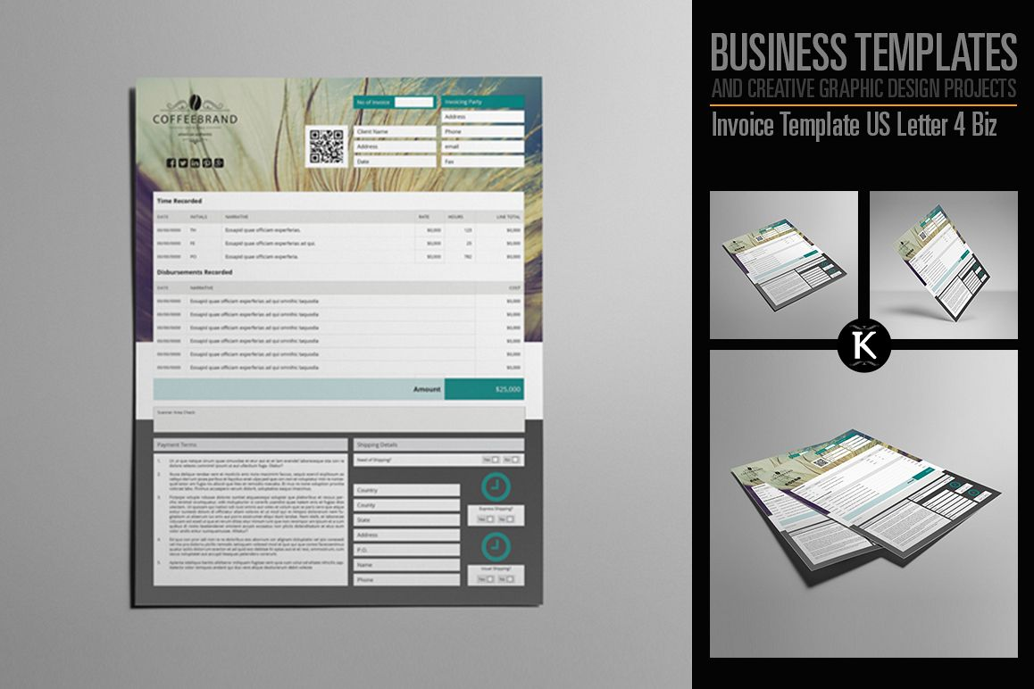Invoice Template US Letter 4 Biz example image 1