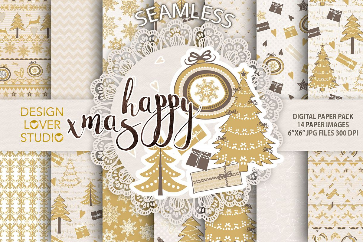 Gold christmas digital papers pack example image 1
