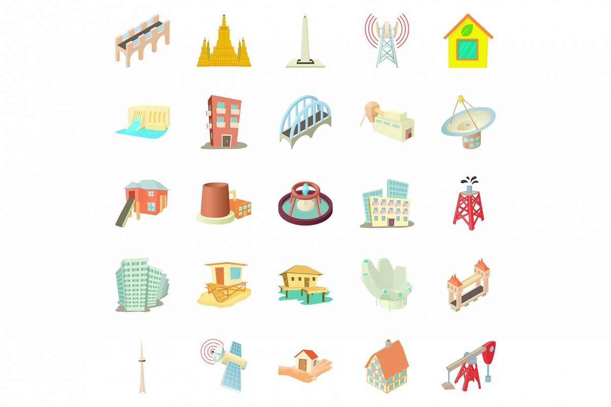 Edifice icons set, cartoon style example image 1