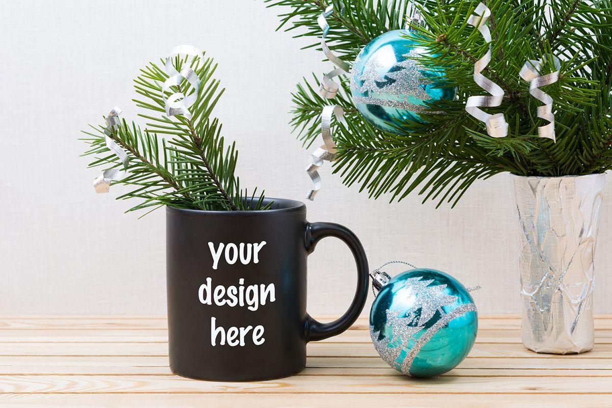 Coffee Christmas Ornaments.Black Coffee Mug Mockup With Blue Christmas Ornaments