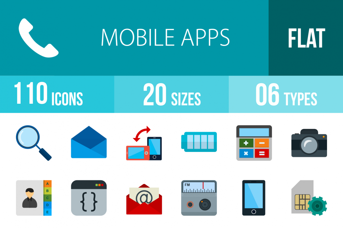 50 Smartphone Flat Multicolor Icons example image 1