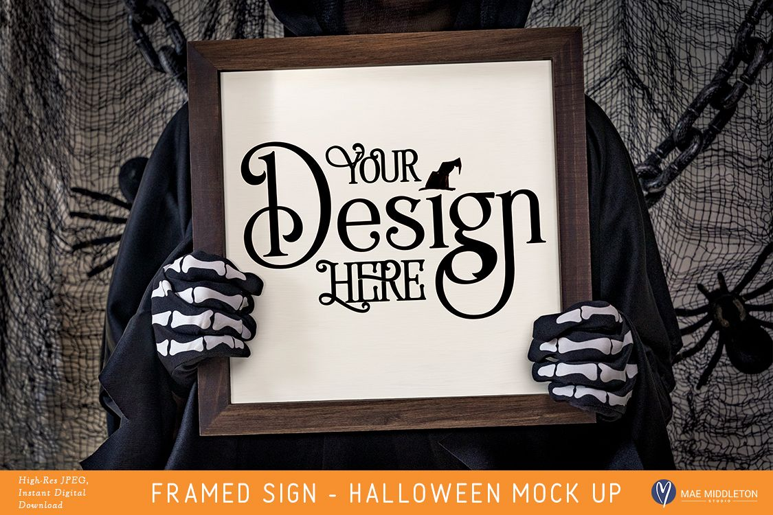 Framed Wooden Sign Mock up for Halloween example image 1