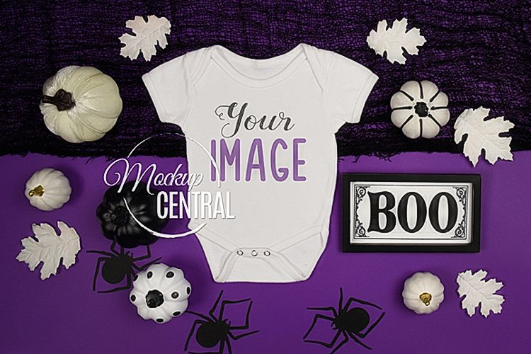 Halloween Baby Onepiece Bodysuit Apparel Mockup, Digital JPG example image 1