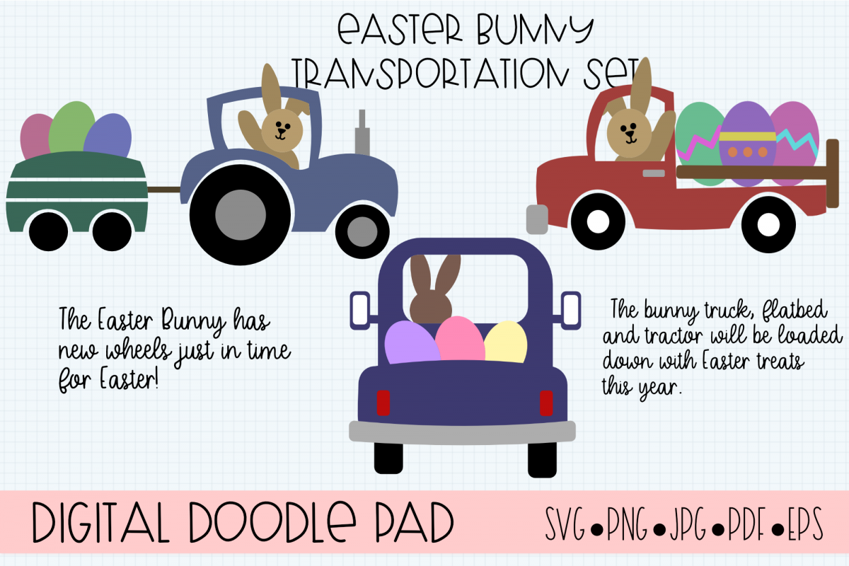 Easter Bunny Transportation Set - Cricut and Silhouette example image 1