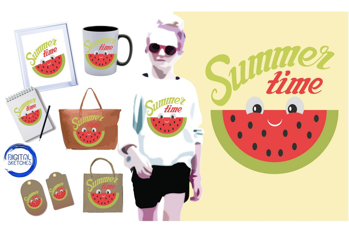 Saying Summer Time Cut File Vector Graphics Illustration example image 1