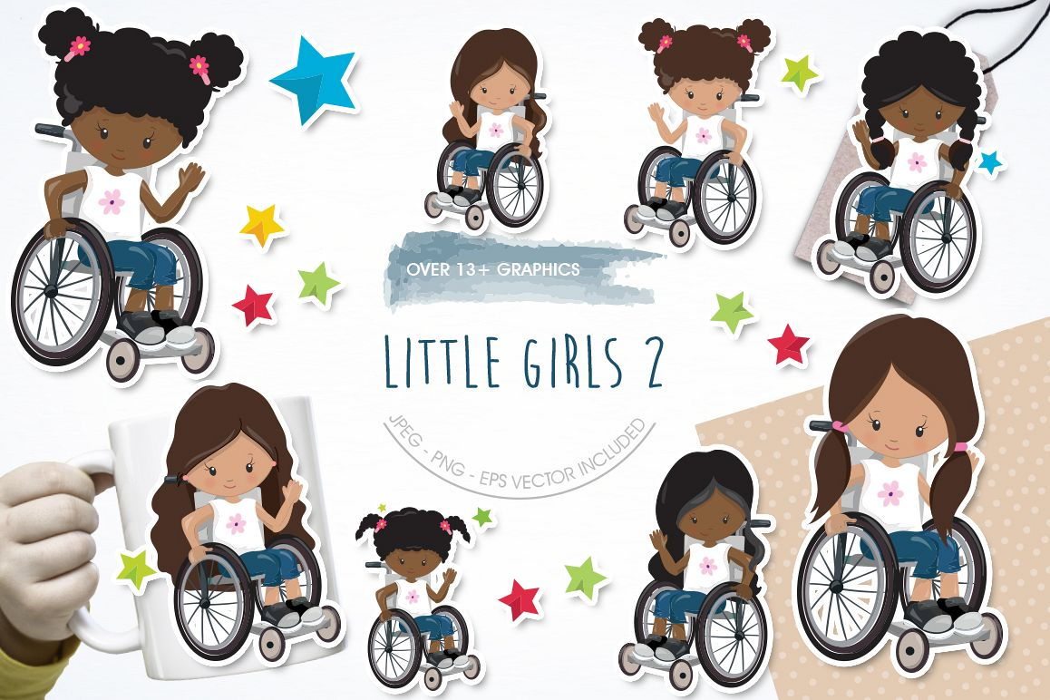 Little Girls 2 graphic and illustrations example image 1