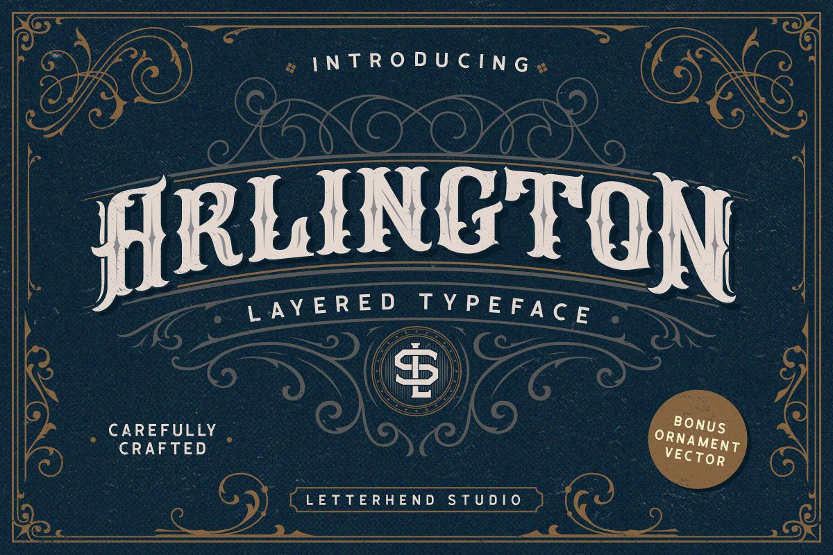 Arlington Layered Font & Ornaments example image 1