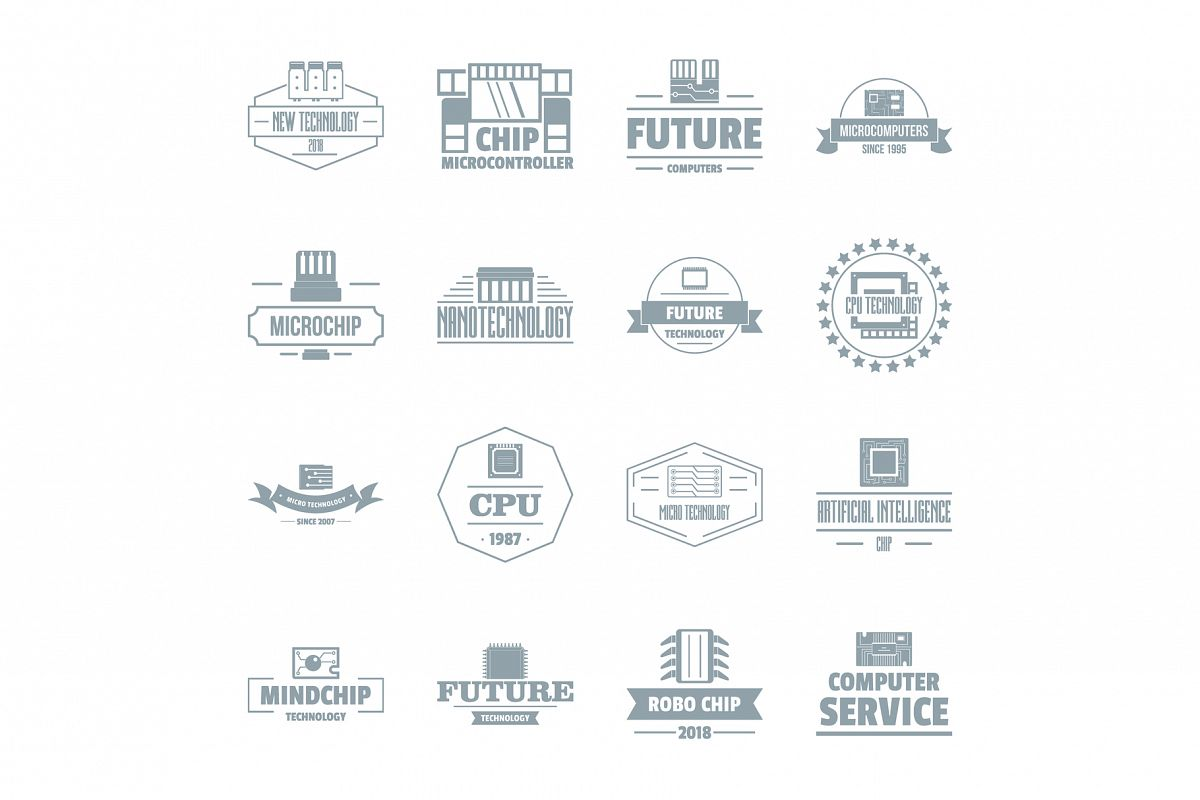 Future computer logo icons set, simple style example image 1