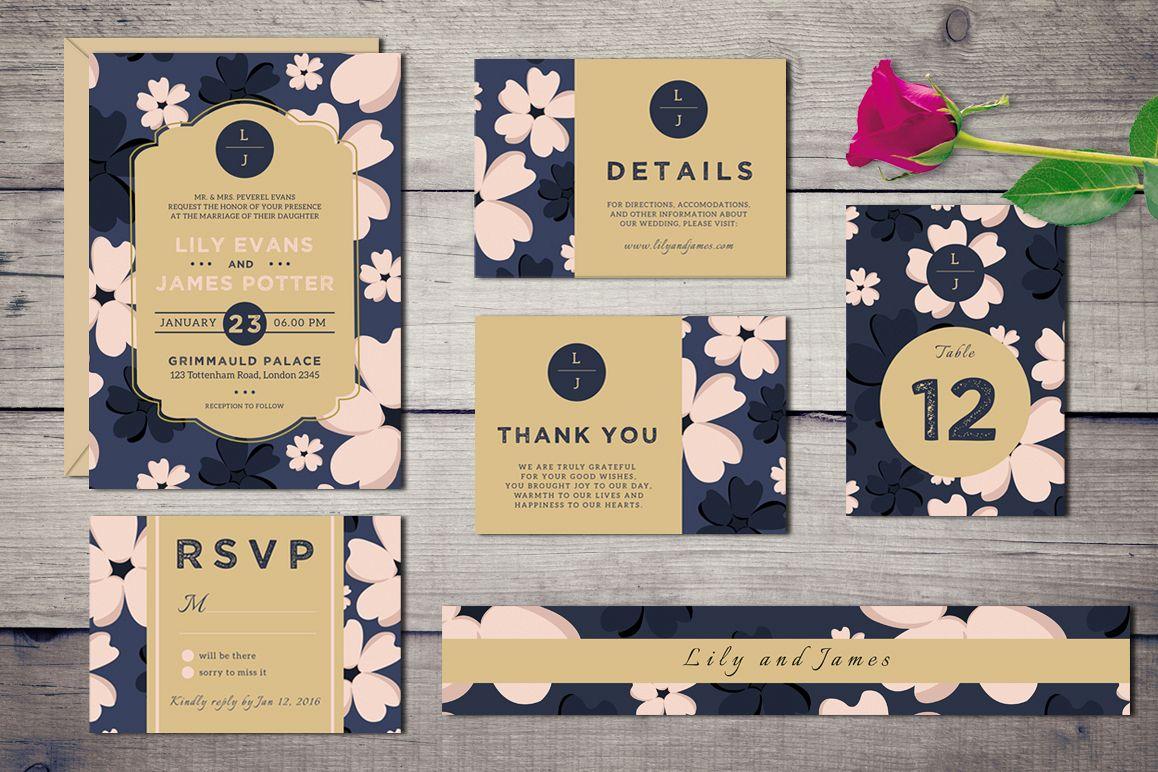 Bloomy - Wedding Invitation Suite example image 1