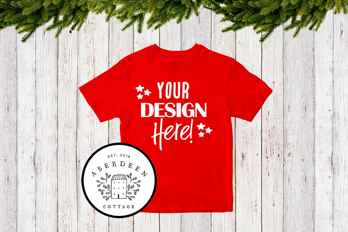 Children's Christmas Red T-Shirt Mock Up Style 1 example image 1