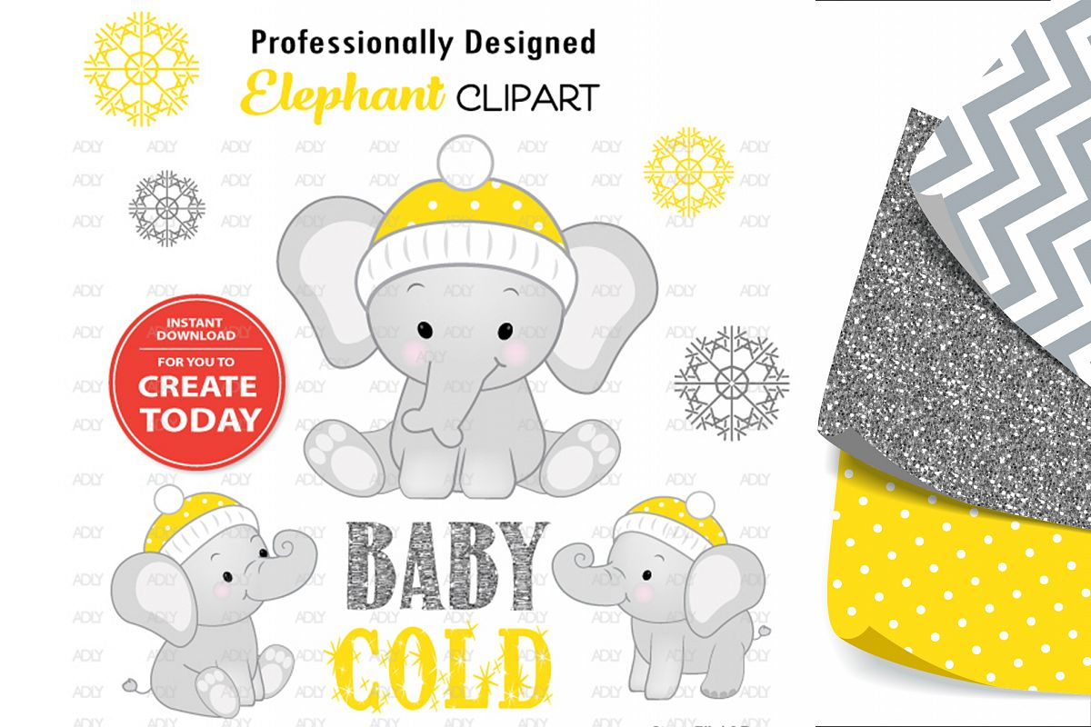 Winter Elephant Sitting Pose with Yellow Winter Cap,Clip Art example image 1