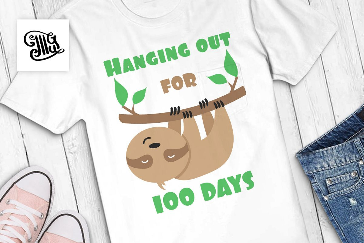 100 days of school for boy svg with sloth clipart example image 1