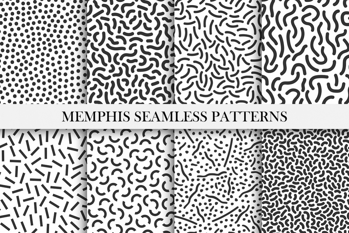 Memphis seamless patterns - 80-90s. example image 1