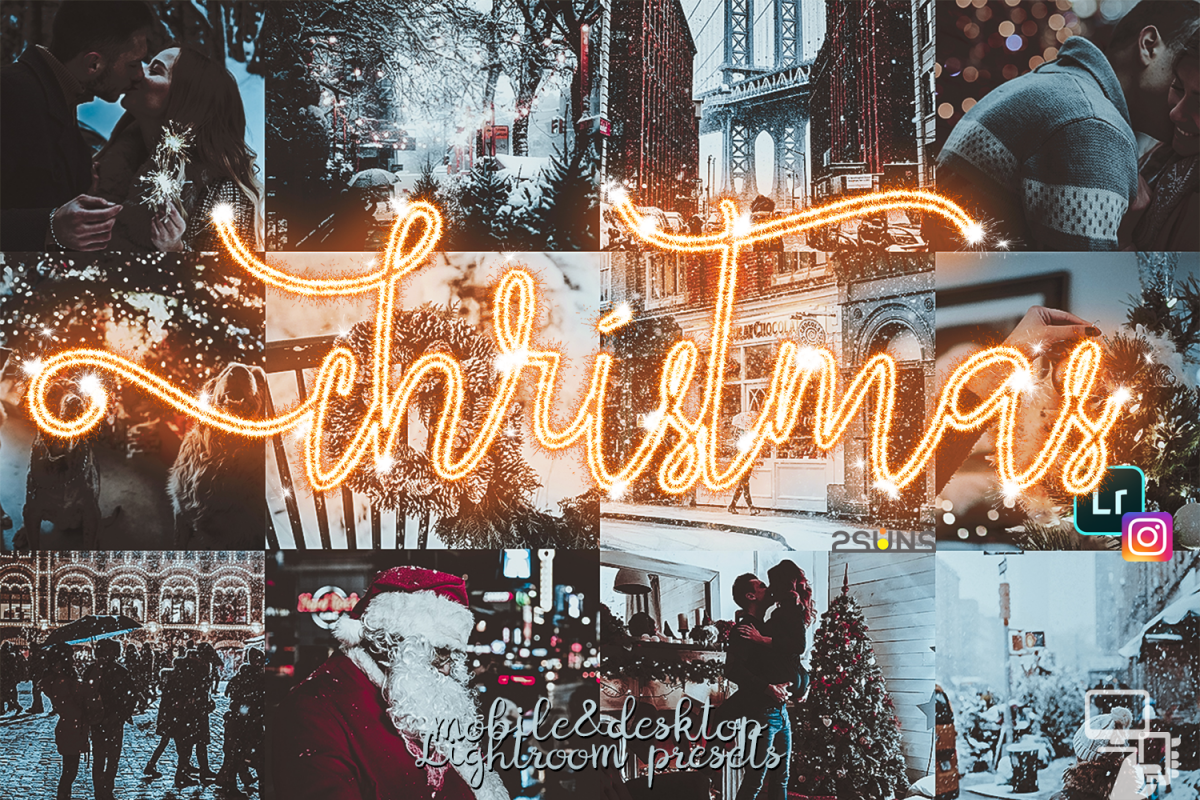 Christmas presets, winter lightroom instagram dng pc mobile example image 1