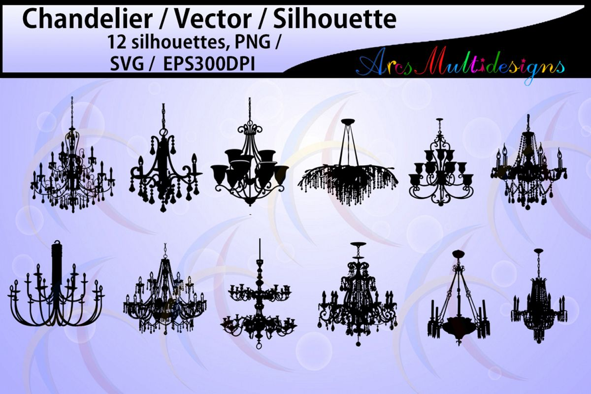 chandelier Silhouette / chandelier SVG files / High Quality / digital clipart / chandelier / chandelier clipart / chandelier EPS / PNG example image 1