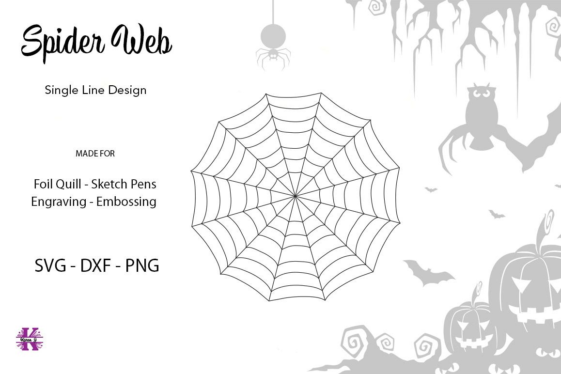 Spider Web for Foil Quill|Single Line Design example image 1