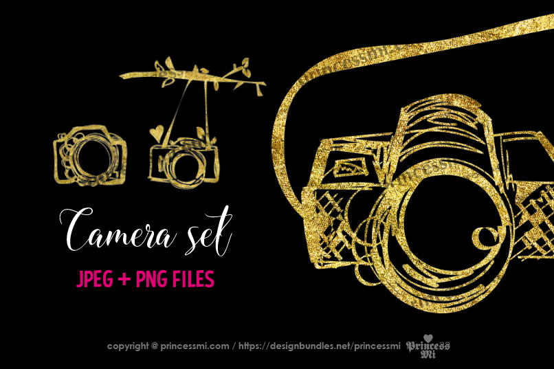 Gold camera clipart set 2 example image 1