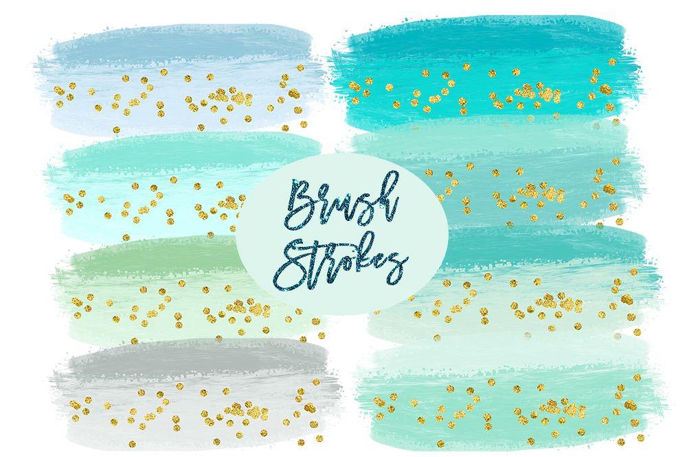 Watercolor Splashes Clipart, mint Brush Strokes Clip Art, Watercolor BRUSH STROKES Clipart Commercial Use, Paint splatter clipart, splotches example image 1