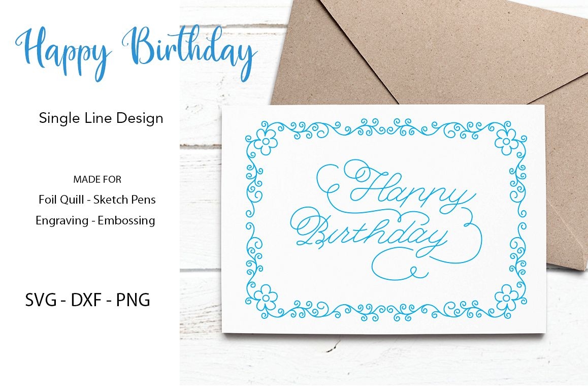 Happy Birthday SVG for Foil Quill|Sketch Pen|Engraving example image 1