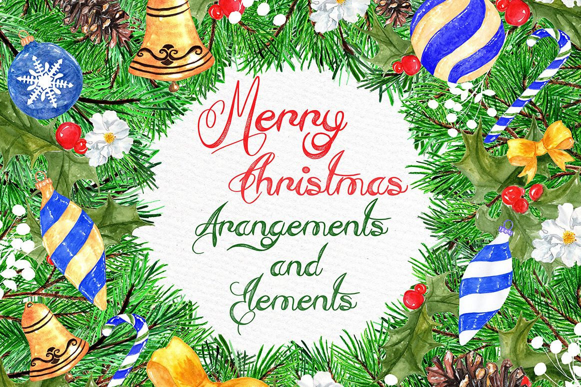 Christmas watercolor clipart example image 1