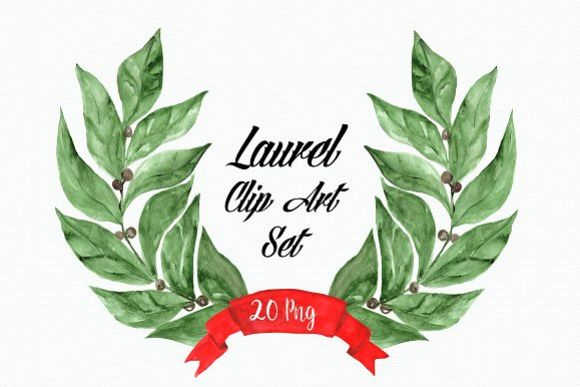 Watercolor Laurel Clip Art Set example image 1