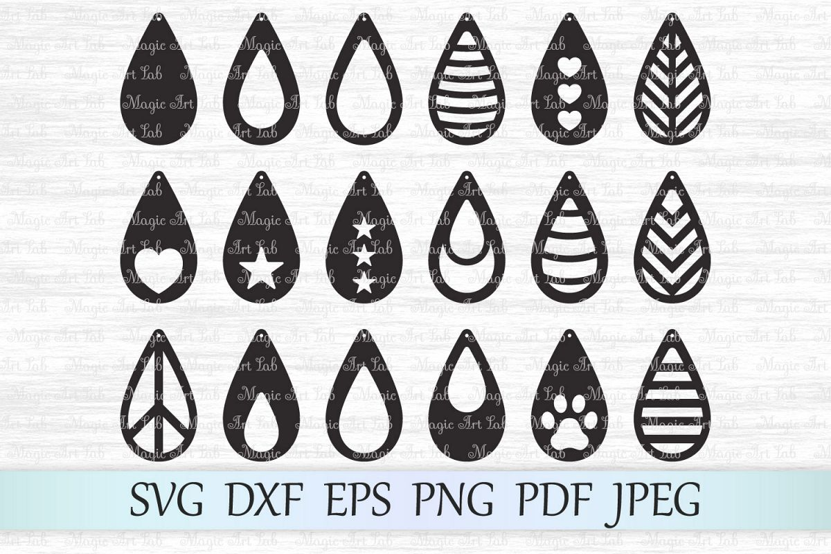 Earrings svg, Tear drop earrings svg, Earrings bundle svg example image 1