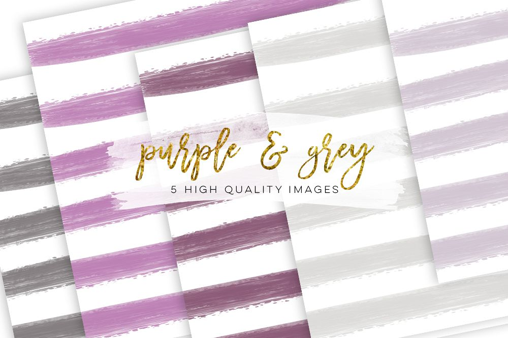 Purple digital paper, lavender Watercolor rose, lavender Watercolor stripe, invitation paper, book background, Gray Stripe Watercolor example image 1