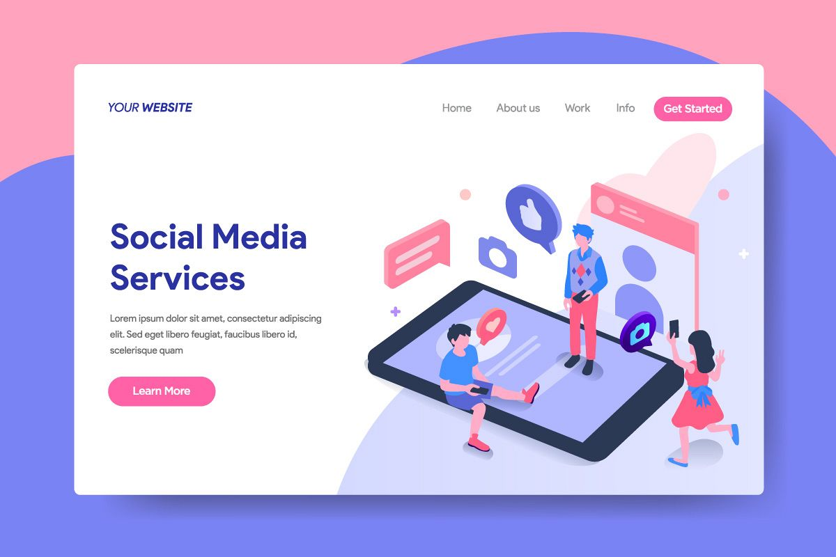 landing page template of social media services concept