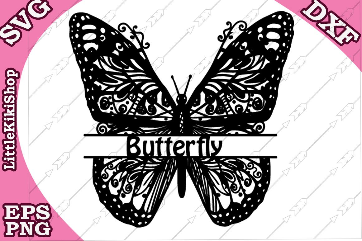 Zentangle Butterfly Monogram Svg, Mandala Butterfly Svg example image 1