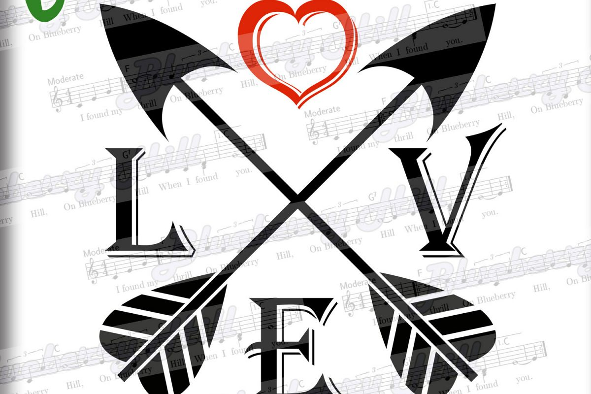 Love Arrows SVG -Arrow heart svg - Valentine Svg - love sign example image 1