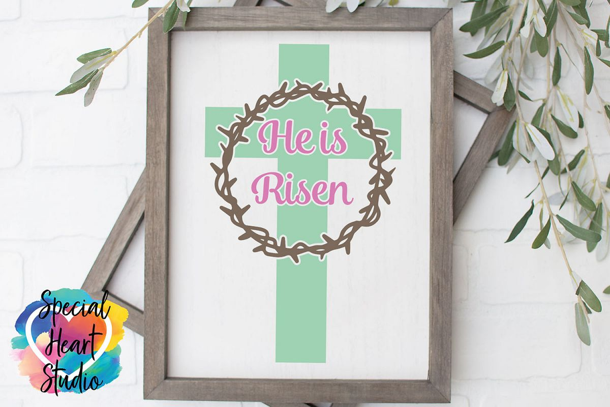He is Risen SVG - Easter - Home decor, sign, pillow cut file example image 1