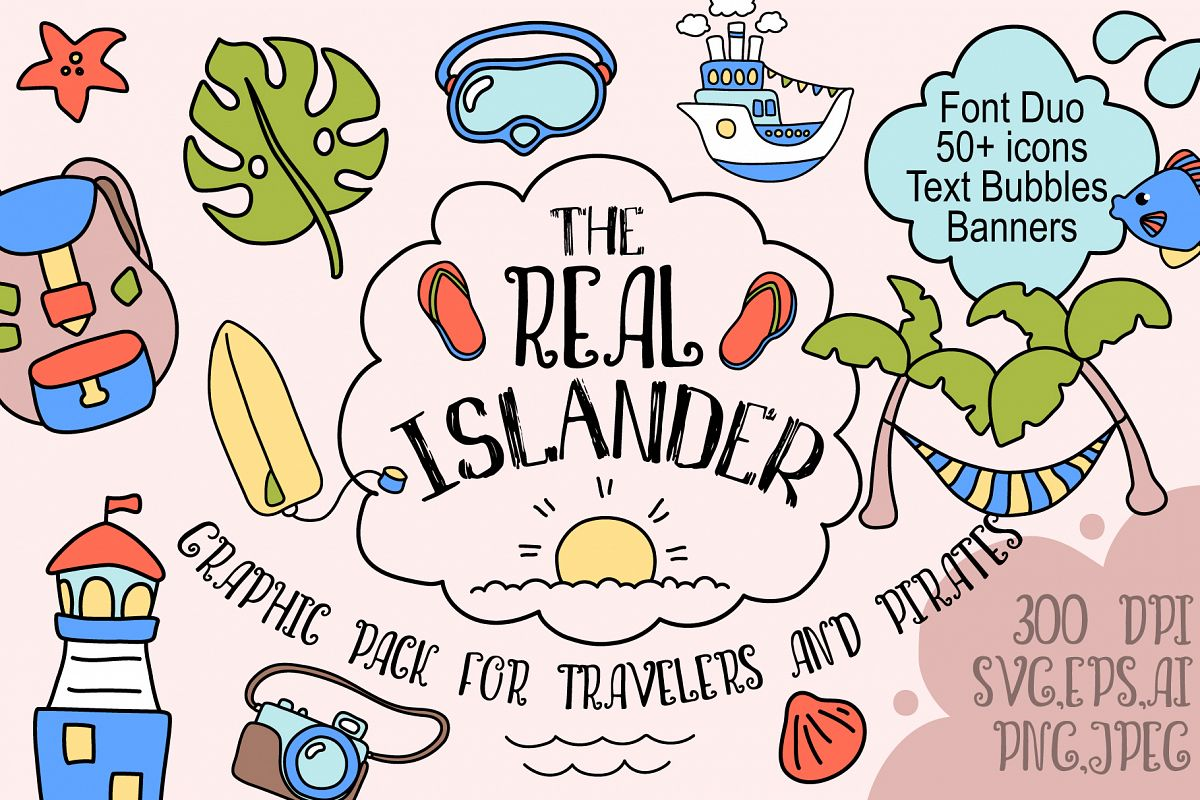 Real Islander - Tropical Summer Travel Vector Design Pack example image 1