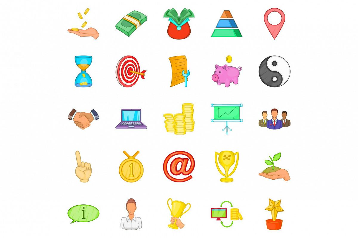Client support icons set, cartoon style example image 1