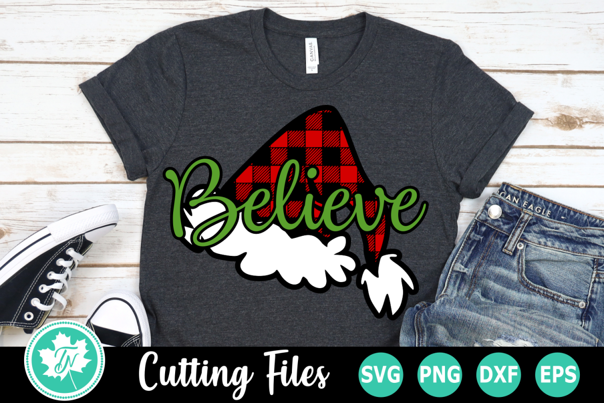 Believe Plaid Hat - A Christmas SVG Cut File example image 1