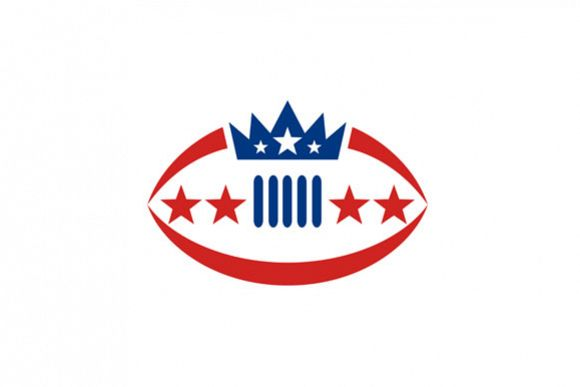 American Football Ball Crown Star Icon example image 1