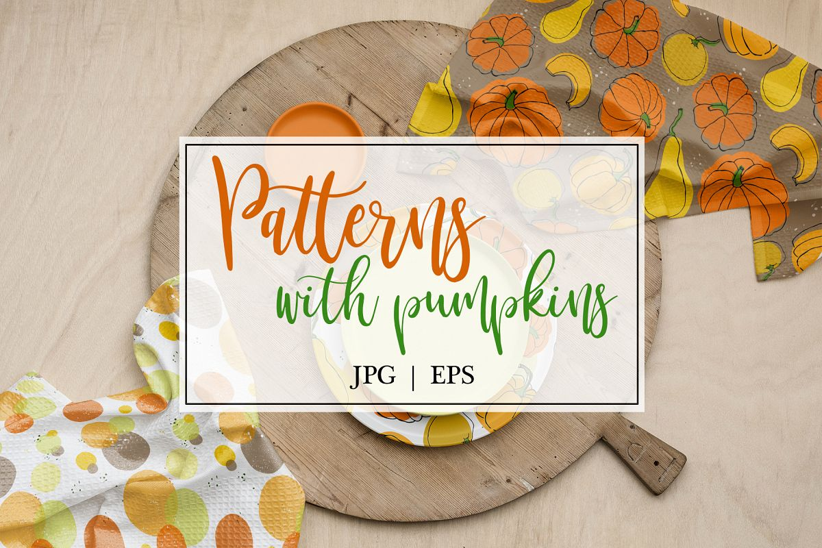 Vector patterns with pumkins example image 1