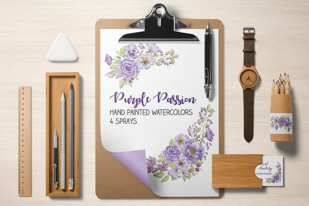 Watercolor sprays of purple and lilac flowers example image 1
