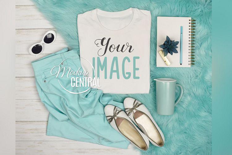Pretty Women's Blank White T-Shirt Styled Shirt Mock Up JPG example image 1