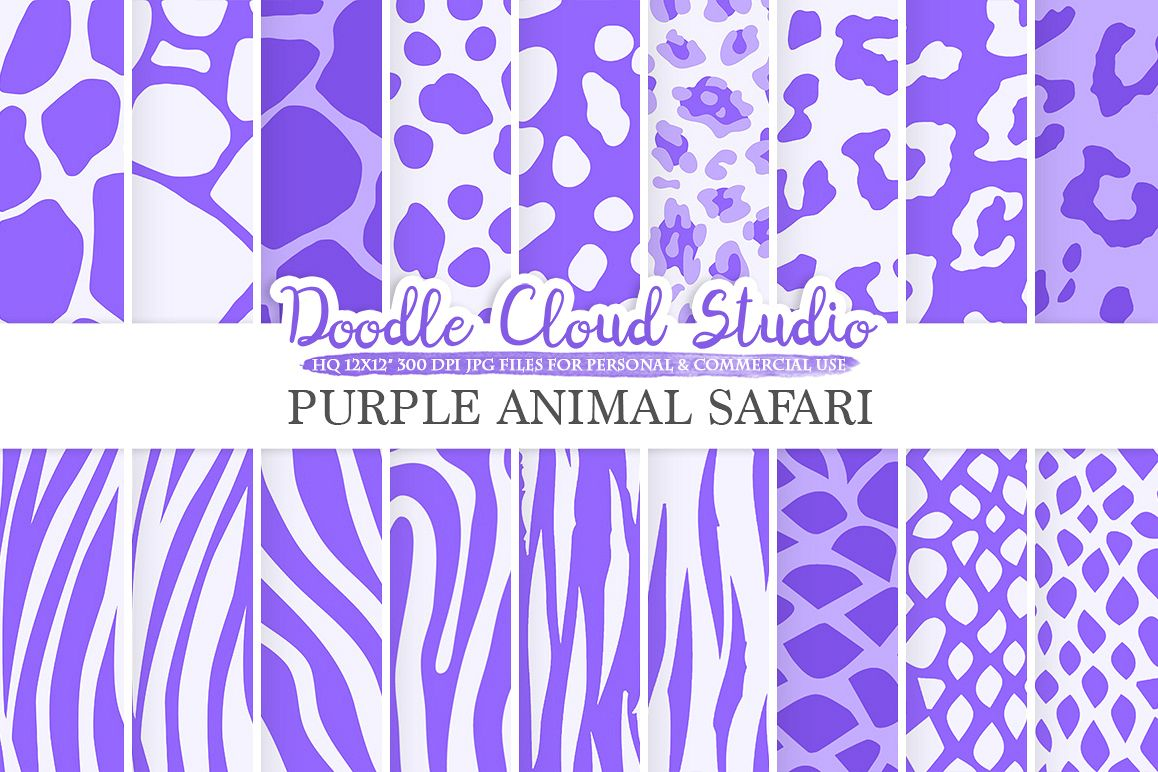 Purple Animal Safari digital paper, Fur pattern, Giraffe Zebra Leopard Snake Tiger backgrounds, Instant Download, Personal & Commercial Use example image 1