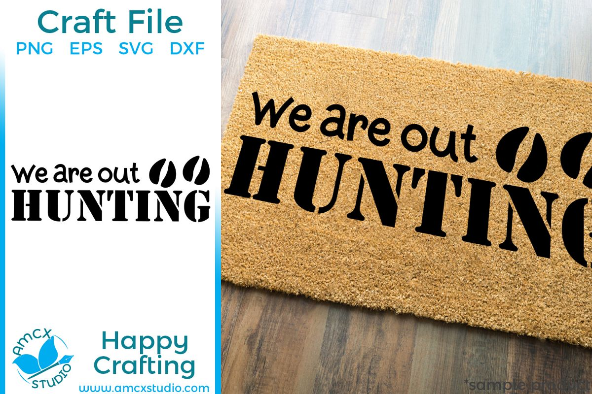Out Hunting Front Doormat SVG example image 1