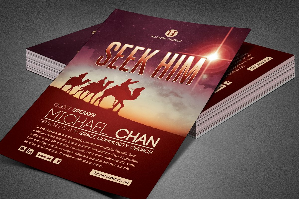 Seek Him Church Flyer Template example image 1