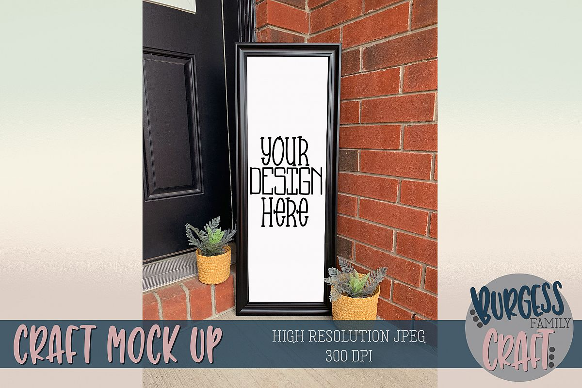 Front door framed sign Craft mock up |High Res JPEG example image 1
