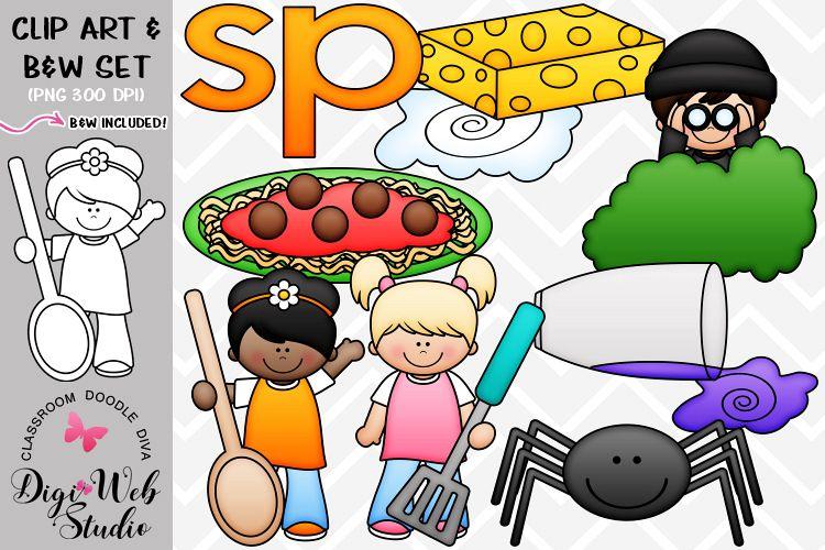 Clip Art / Illustrations - S Blends - sp Phonics example image 1