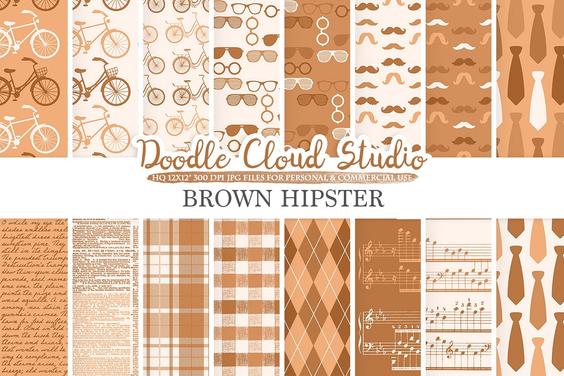 Brown Hipster digital paper, Vintage Father's day tie mustaches bikes music glasses plaid pattern Instant Download Personal & Commercial Use example image 1