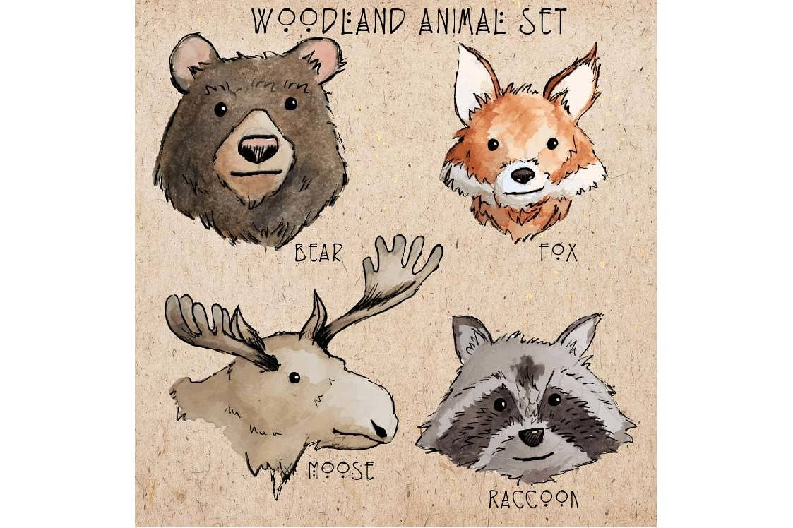 Woodland creatures clip art example image 1