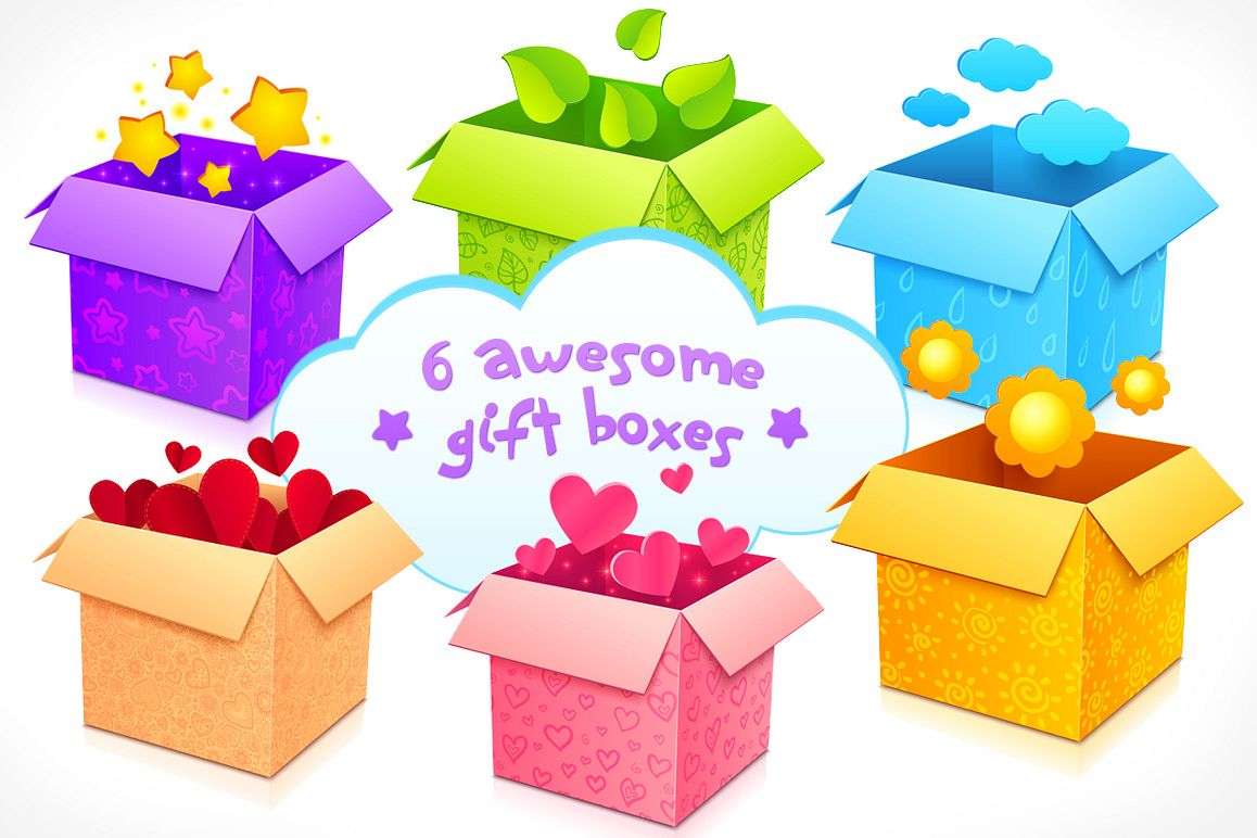6 high quality vector gift boxes example image 1