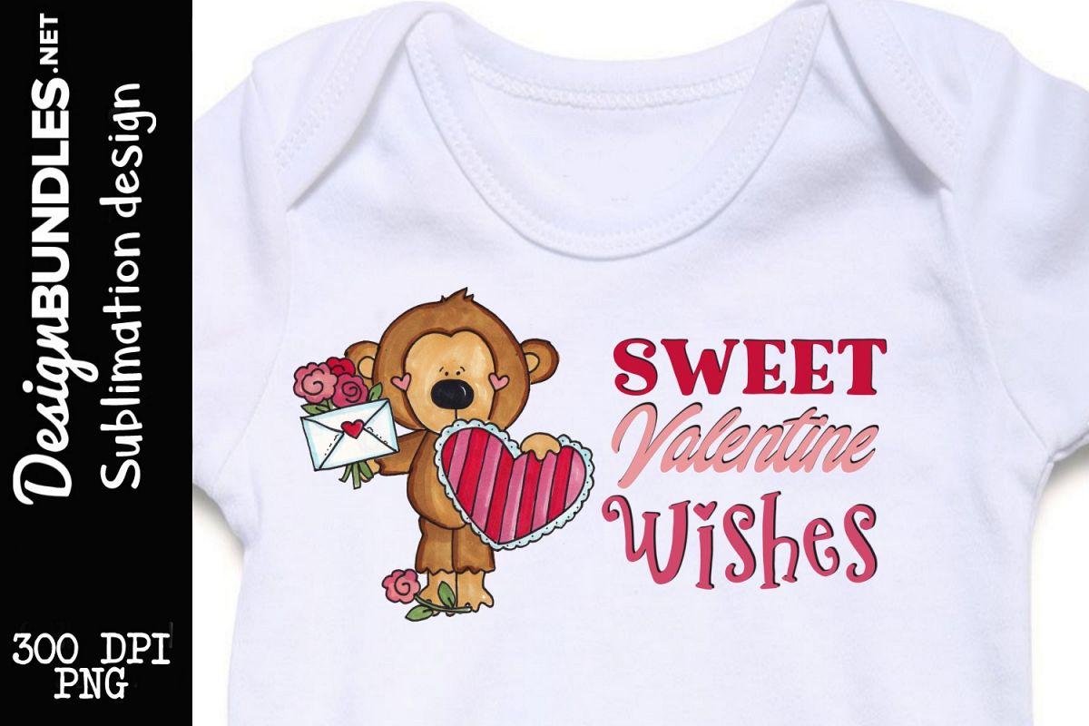 Valentine Monkey Sublimation Design example image 1