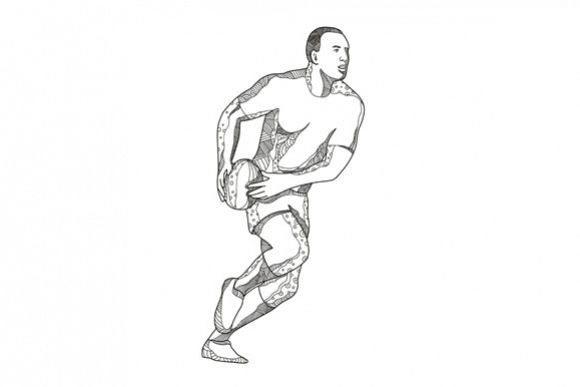 Rugby Player Passing Ball Doodle Art example image 1